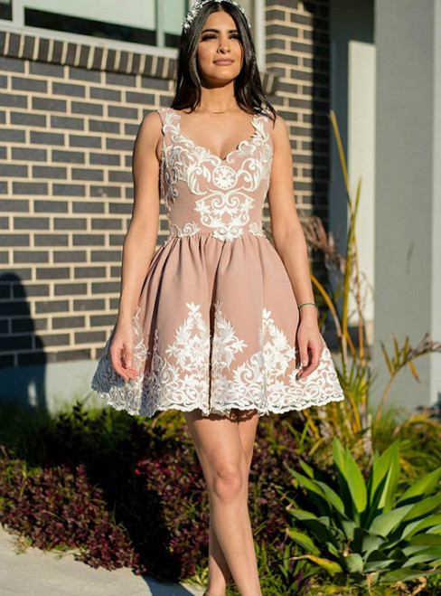 A-Line Champagne Pink Satin Lace Appliques Homecoming Dress
