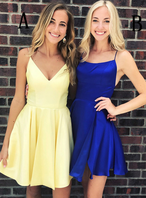 Simple Spaghetti Strap Yellow/Royal Blue Short Homecoming Dress