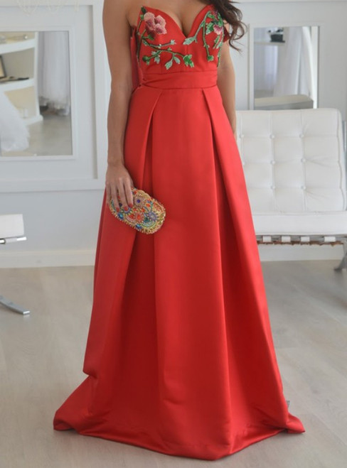 A Line Strapless Embroidery Long Red Satin Prom Dress