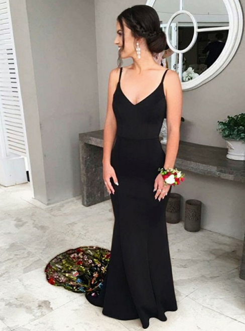 Black Mermaid Spaghetti Straps Prom Dress with Embroidery