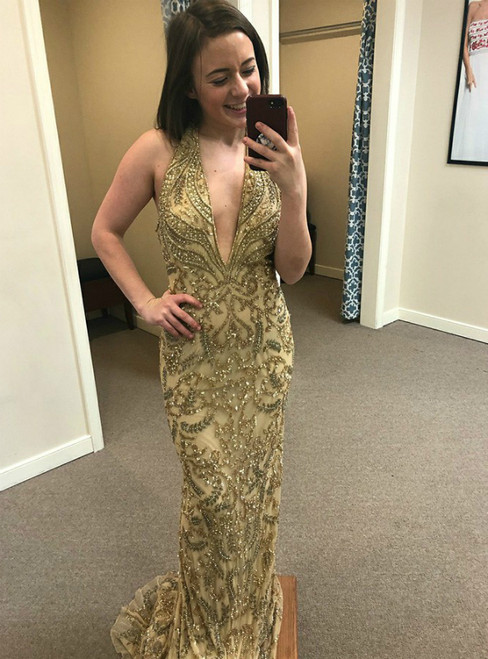 Gold Lace Sequin Sheath V-Neck Sweep Train Prom Dress