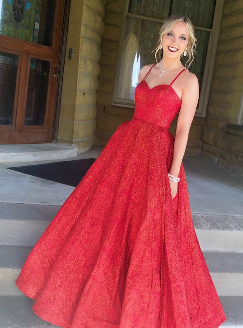 Red Sequins Ball Gown Spaghetti Straps Long Prom Dress