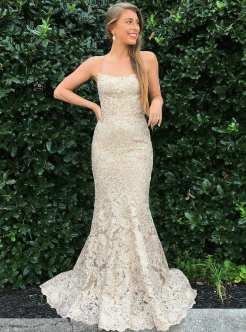 Champagne Mermaid Lace Spaghetti Straps Long Prom Dress