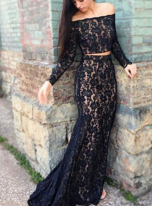 Two Piece Black Lace Long Sleeve Sexy Mermaid Prom Dress with Beadings