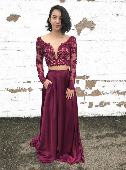 Long Sleeve Two Piece Lace Prom Dresses Purple See Through Beaded