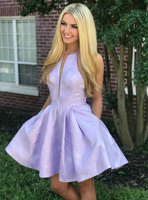 A-Line Jewel Lavender Floral Homecoming Dress with Pockets