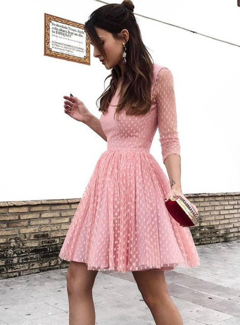 A-Line Pink Tulle 3/4 Sleeve Backless Homecoming Dress
