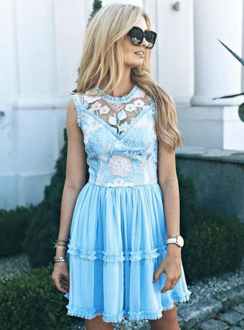A-Line Blue Tulle Appliques Short Homecoming Party Dress