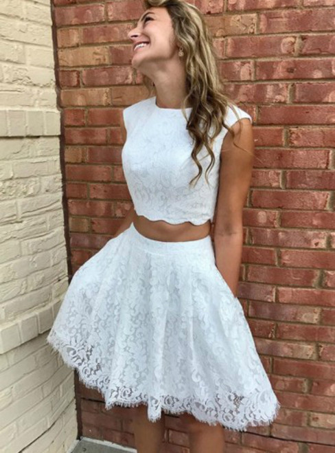 White Two Piece Lace Short Homecoming Dress With Pocket