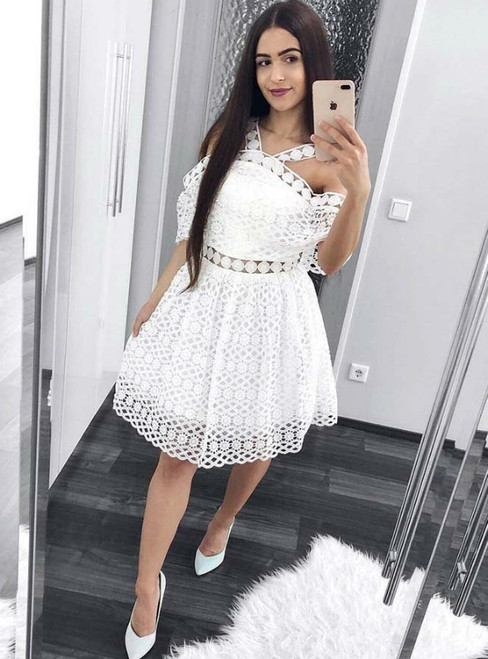 A-Line Cold Shoulder Lace White Short Homecoming Dress