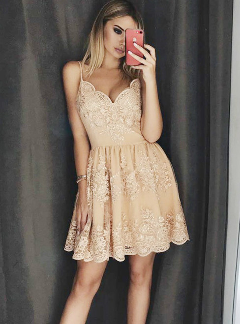 Champagne Tulle Lace Appliques Spaghetti Straps Homecoming Dress