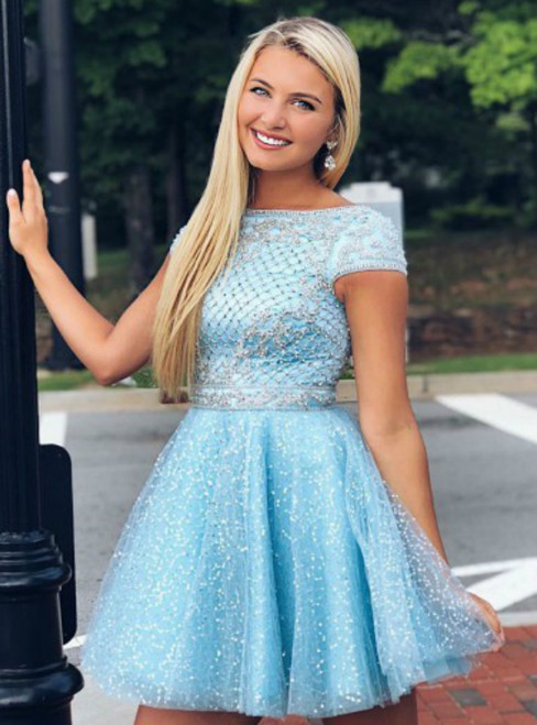 Blue Tulle Sequins Cap Sleeve Beading Homecoming Dress