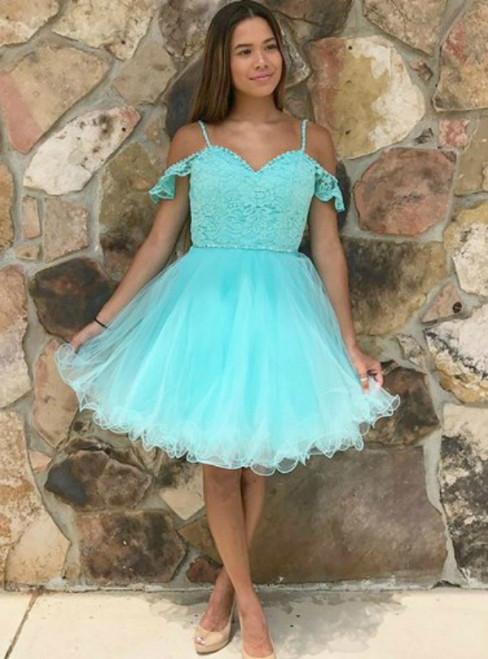 Green Tulle Spaghetti Straps Appliques Homecoming Dress