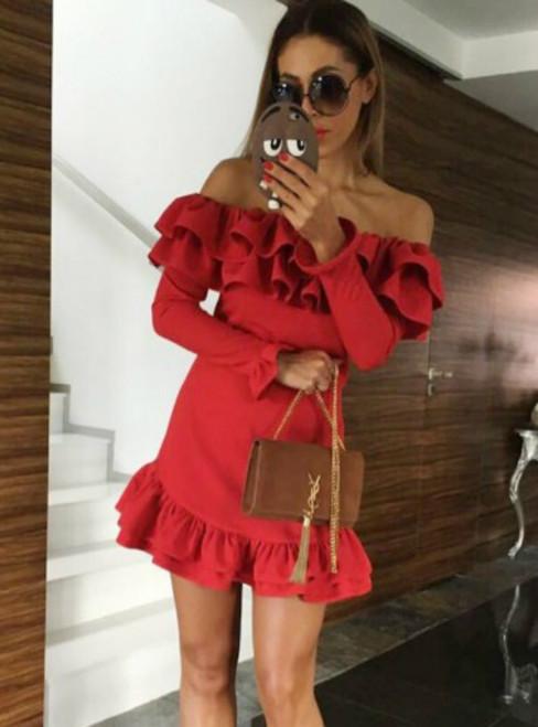 Red Mermaid Satin Off the Shoulder Ruffles Long Sleeve Homecoming Dress