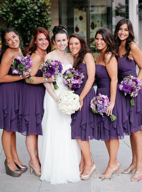 Cheap bridesmaid dresses 2017 Short Custom Bridesmaid Dress purple bridesmaid dress