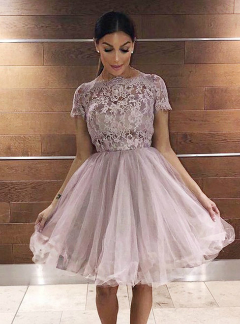 Pink Tulle Cap Sleeve Lace  Applqiues Homecoming Dress