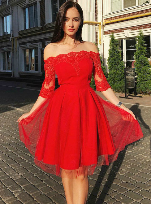 Red Tulle Lace Appliques Off the Shoulder Half Sleeve Homecoming Dress