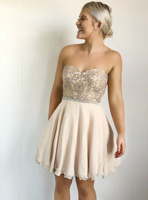 4c9c529086ac Champagne Chiffon Sweetheart Lace Appliques Short Homecoming Dress