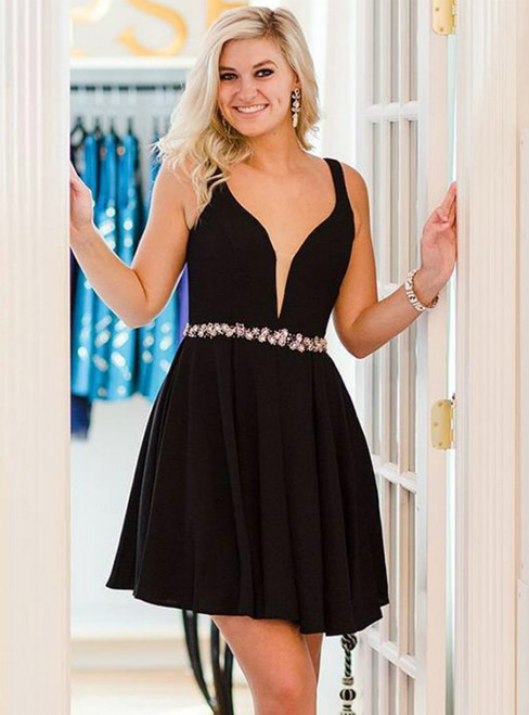 Black Satin Straps Short Homecming Dress With Crystal
