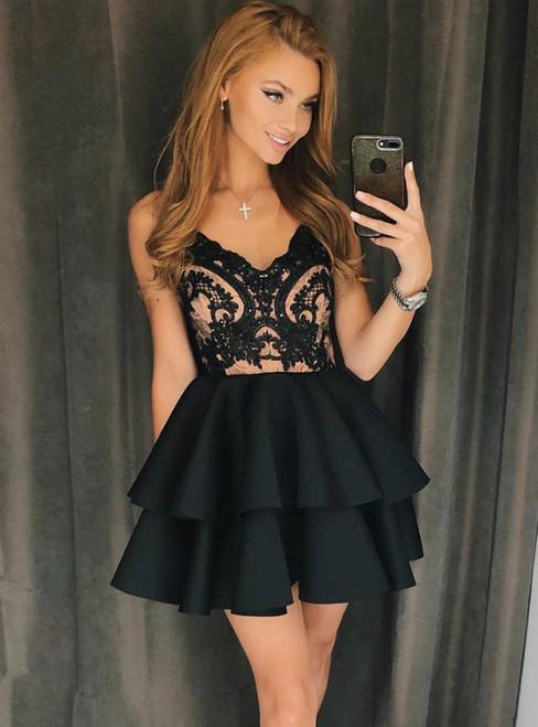 Black Satin Spaghetti Straps Appliques Short Homecoming Dress