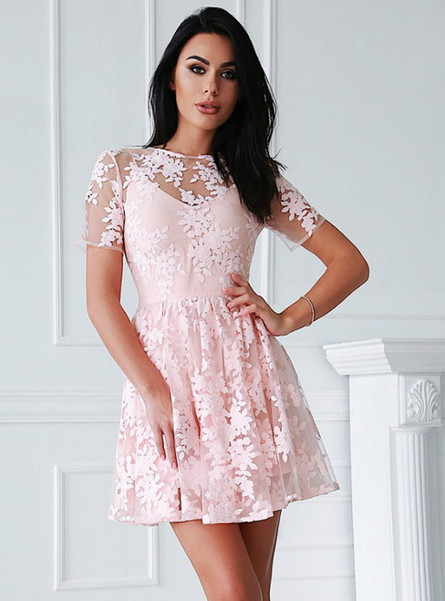A-Line Pink Tulle Appliques Short Sleeve Mini Homecoming Dress