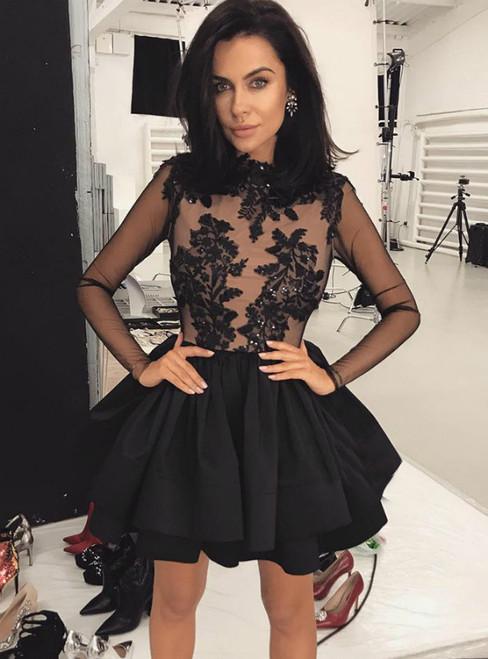 Black Satin Appliques Long Sleeve Mini Homecoming Dress