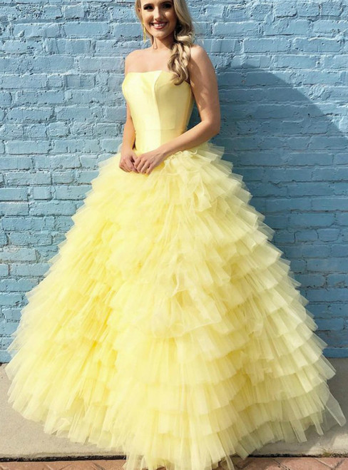 Yellow Strapless Tiered Floor Length Ball Gown Long Prom Dresses,