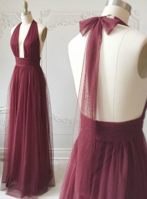 Burgundy Tulle Halter Deep V-neck Backless Prom Dress