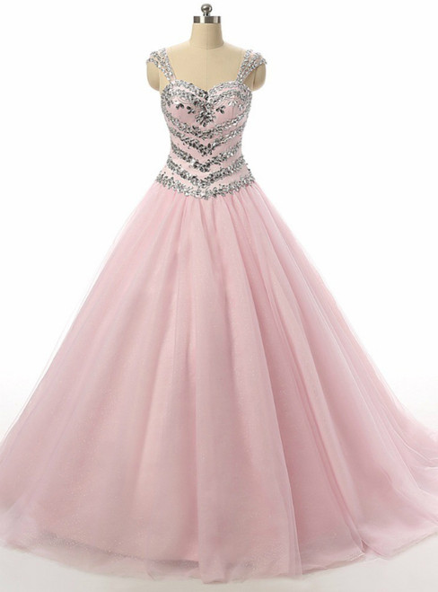 Blush Pink Ball Gown Crystal Beading Sequins Quinceanera Dresses