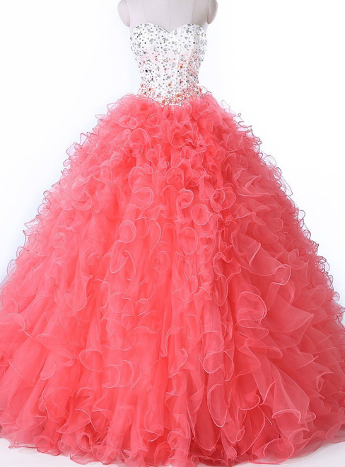 Pink Ball Gown Organza Sweetheart Crystal Sweet 16 Quinceanera Dress
