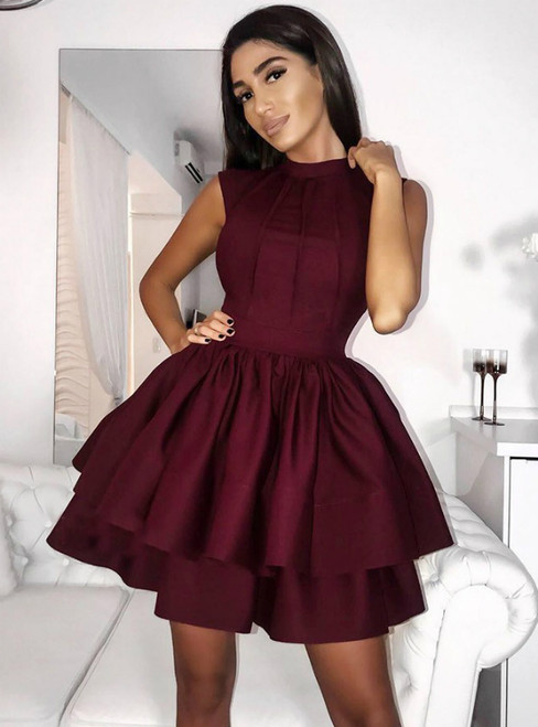 Burgundy Short Satin Tiered Short Homecoming Dress