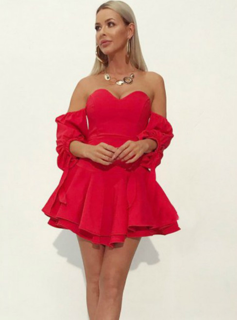 Red Satin Off the Shoulder Long Sleeve Mini Homecoming Dress