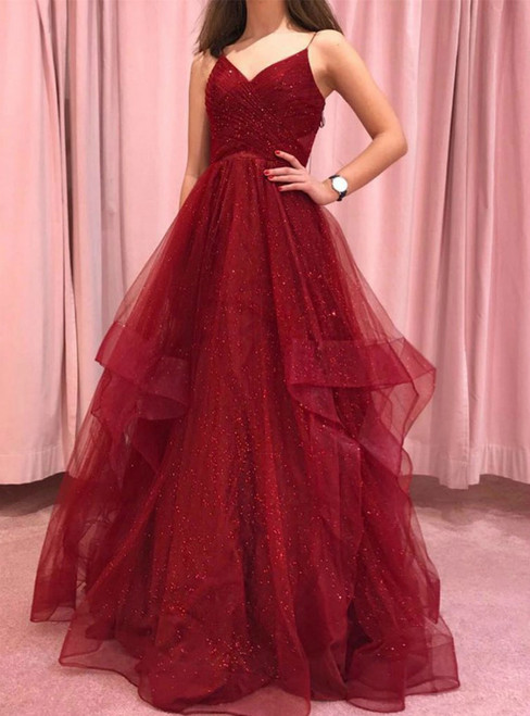 A-Line Burgundy Tulle Spaghetti Straps Sequins Prom Dress