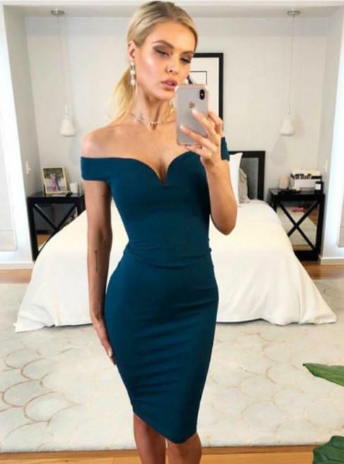Mermaid Blue Satin Off the Shoulder Knee Length Cocktail Dress