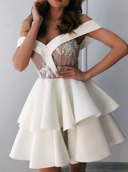 A-Line White Satin Off the Shoulder Appliques Homecoming Dress