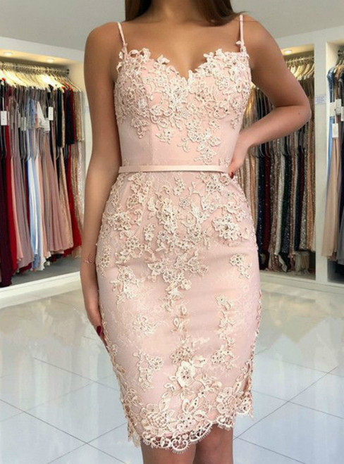 Pink Sheath Spaghetti Straps Lace Appliques Cocktail Dress