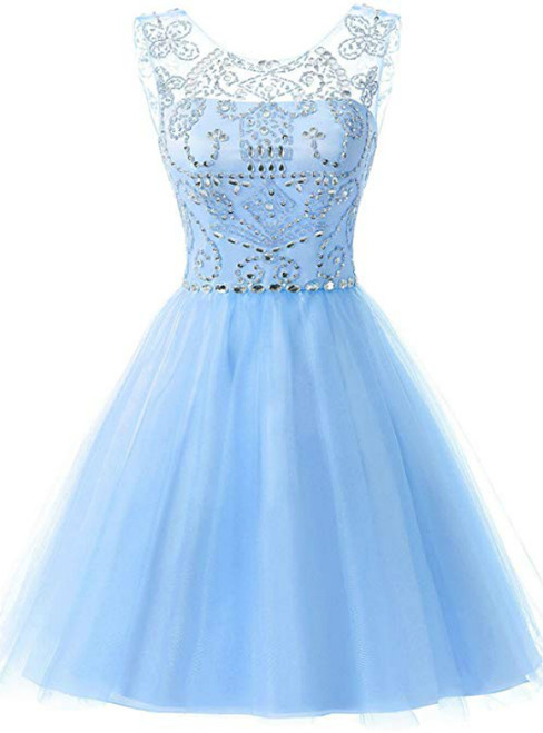 A-Line Blue Tulle Beading Backless Homecoming Dress