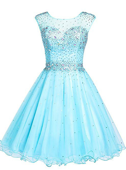 Blue Tulle Backless Beading Crystal Short Homecoming Party Dress