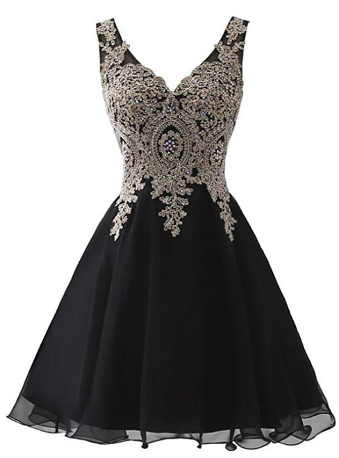 Black Chiffon V-neck Lace Appliques Beading Homecoming Dress