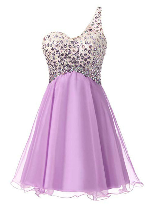 A-Line Purple Chiffon One Shoulder Homecoming Dress With Crystal