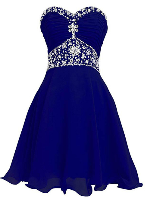 Royal Blue Chiffon Sweetheart Crystal Knee Length Homecoming Dress
