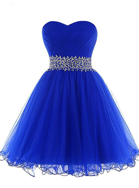 Royal Blue Sweetheart Pleats Beading Sequins Homecoming Dress