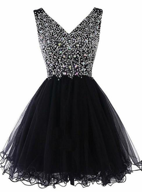 Black V-neck Tulle Beading Crystal Short Homecoming Dress