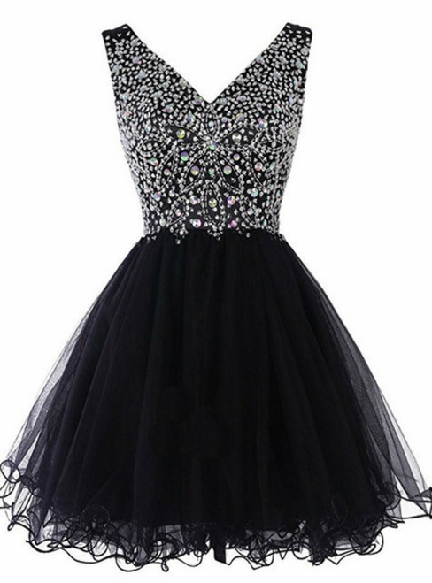 Black V-neck Tulle Beading Crystal Short Homecoming Dress