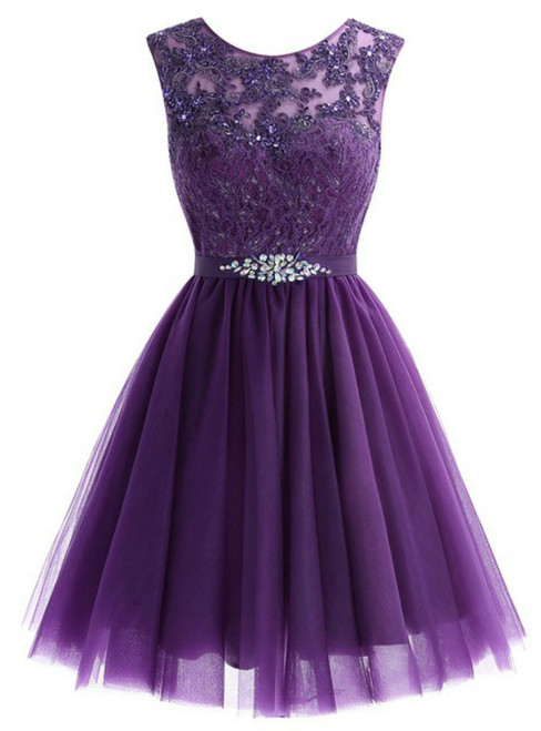 A-Line Purple Tulle Lace Apliques Beading Homecoming Dress