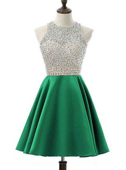 A-Line Green Satin Backless Beading Sequins Homecoming Dress