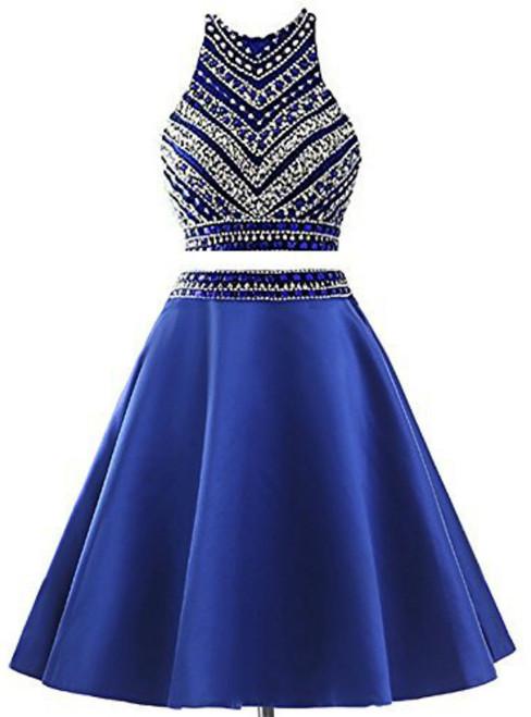 Royal Blue Two Piece Satin Beading Crystal Homecoming Dress