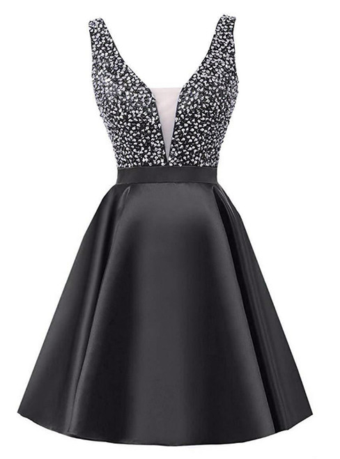 A-Line Black V-neck Backless Satin Beading Sequins Homecoming Dress