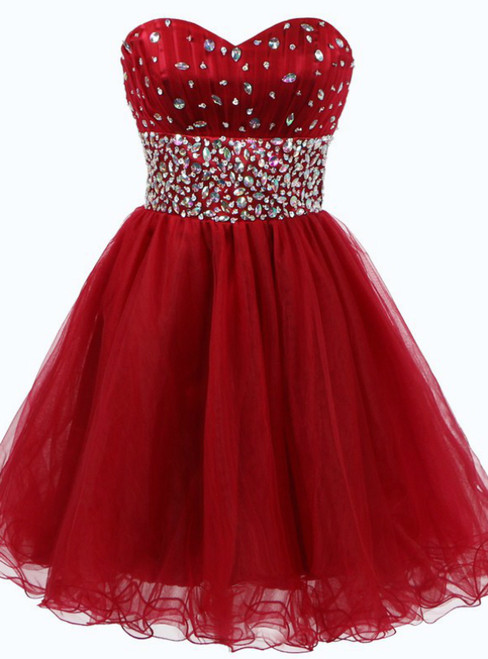 A-Line Red Tulle Sweetheart Homecoming Dress With Crystal