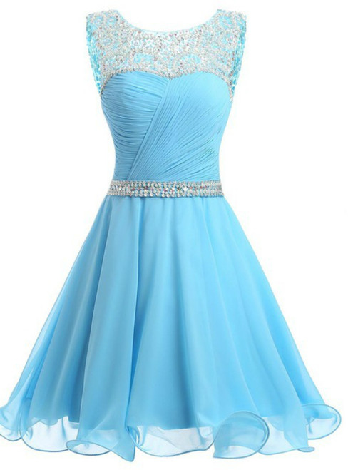 A-line Blue Chiffon Scoop Neck Backless beading Crystal Homecoming Dress